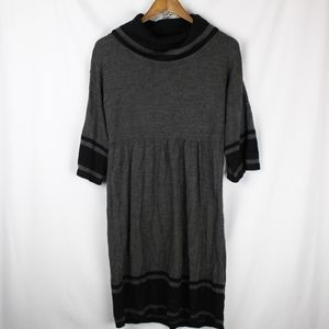 New Directions Gray/Black Cowl Neck Sweater Dress